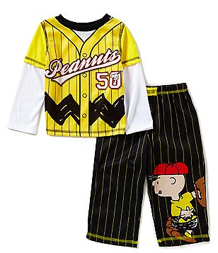 Komar Kids Little Boys 2T-4T Peanuts Striped Baseball Slider Pajama Set