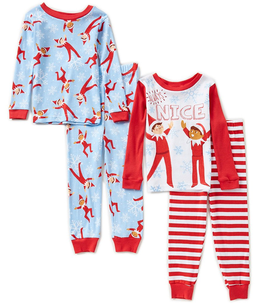 AME Christmas Elf On The Self Little Boys 2T-4T Nice Printed Top & Pants 4-Piece Pajama Set