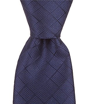 Roundtree & Yorke Grid Pattern Narrow Silk Tie