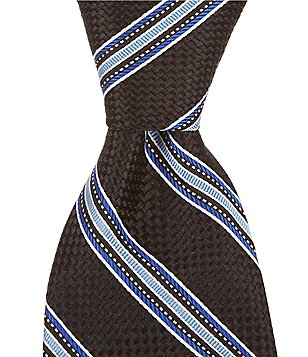 Cremieux Basket Stripe Traditional Silk Tie