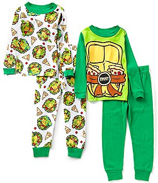 AME Ninja Turtles Little/Big Boys 4-10 Pizza Shells Printed Top & Pants 4-Piece Pajama Set