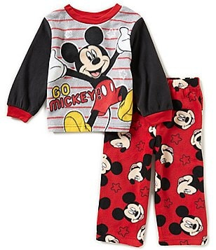 AME Mickey Mouse Little Boys 2T-4T Go Mickey Printed Top and Pants Pajama Set