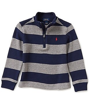 Ralph Lauren Childrenswear Little Boys 2T-7 Horizontal Striped Half-Zip French-Rib Pullover