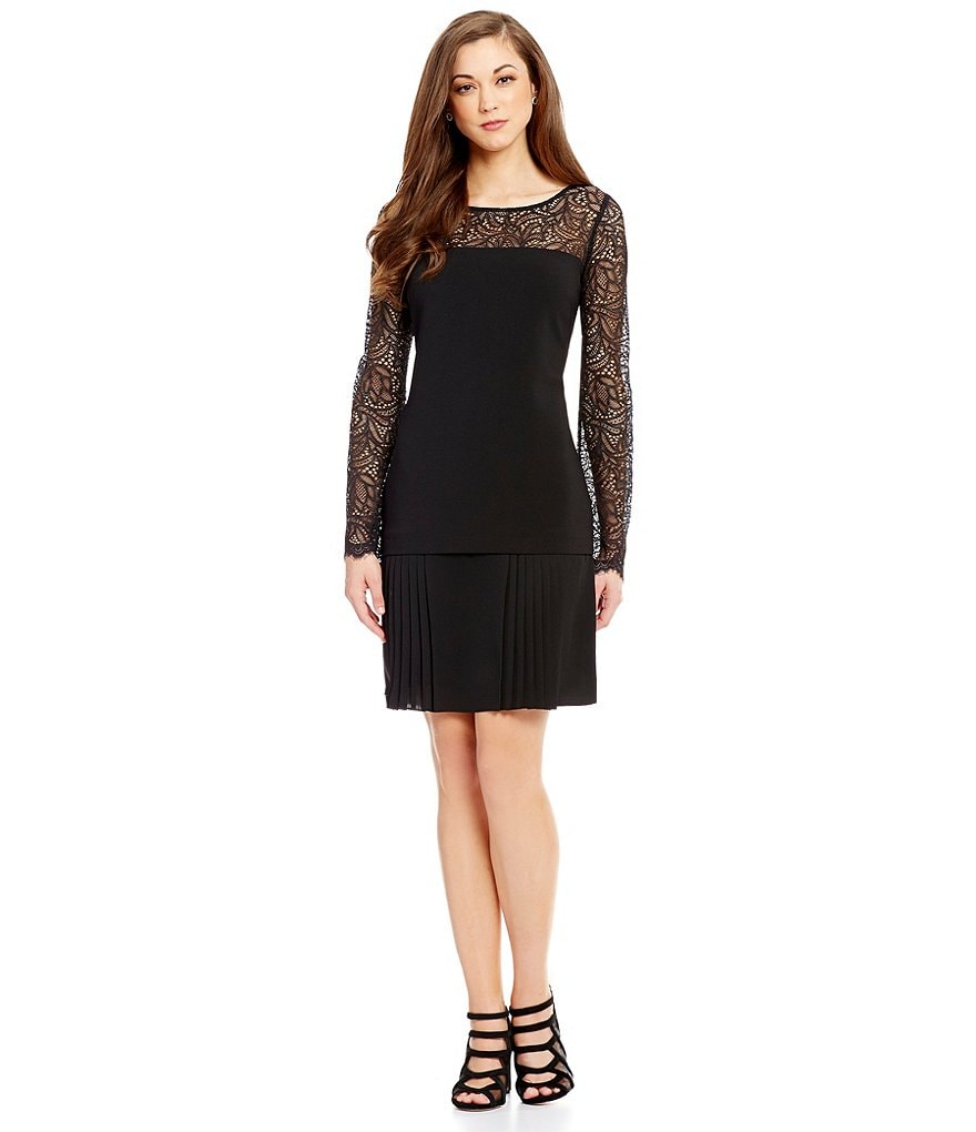 Antonio Melani Lain Crepe/Lace Pleated Skirt Dress