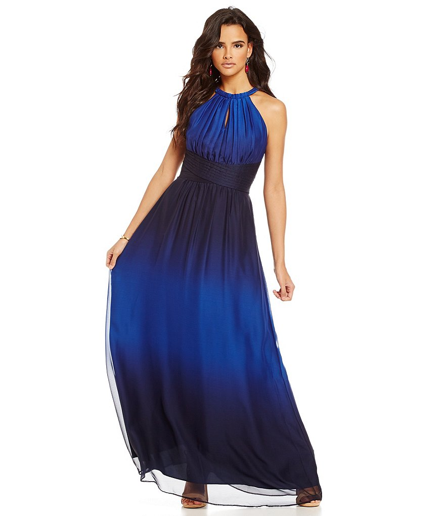 Gianni Bini Anna Dip-Dye Sleeveless Bar-Neck Halter Neck Gown