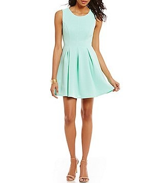 Honey and Rosie Sleeveless Textured Pleated Skater Dress