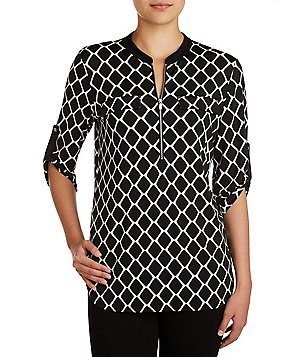Peter Nygard Printed Roll-Tab Sleeve Front Zipper Utility Shirt