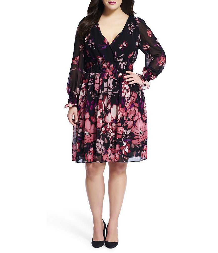 Adrianna Papell Plus Floral-Printed V-Neck Chiffon Fit-And-Flare Dress