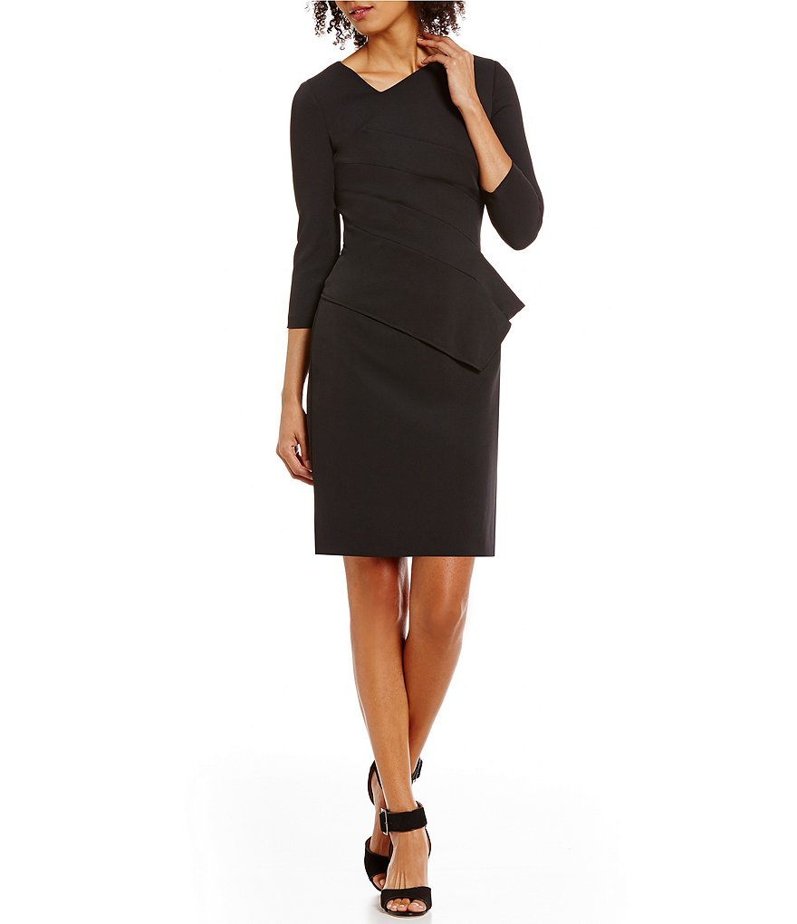 Antonio Melani Isa Stretch Crepe Peplum Dress