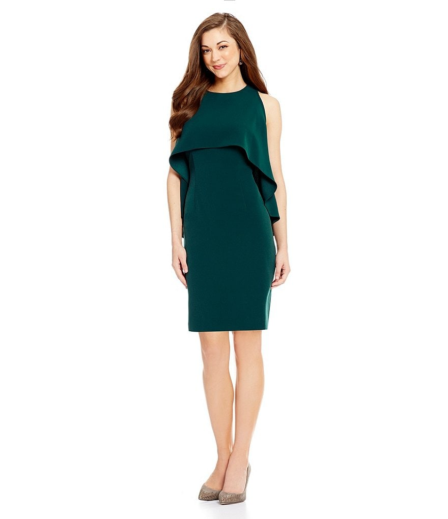 Antonio Melani Viva Crepe Cape Sheath Dress