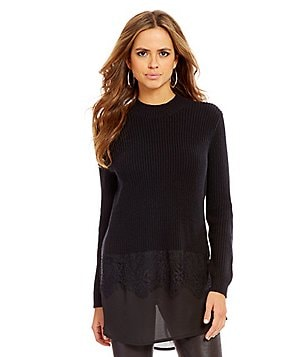 Gianni Bini Jordan Crew Neck Long Sleeve Lace Trim Tunic Sweater