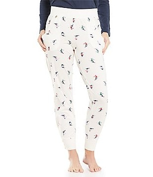 Jane & Bleecker Skier-Print Jersey Jogger Sleep Pants