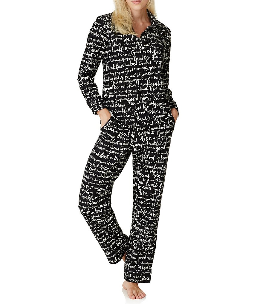 kate spade new york Verbiage-Print Flannel Pajamas