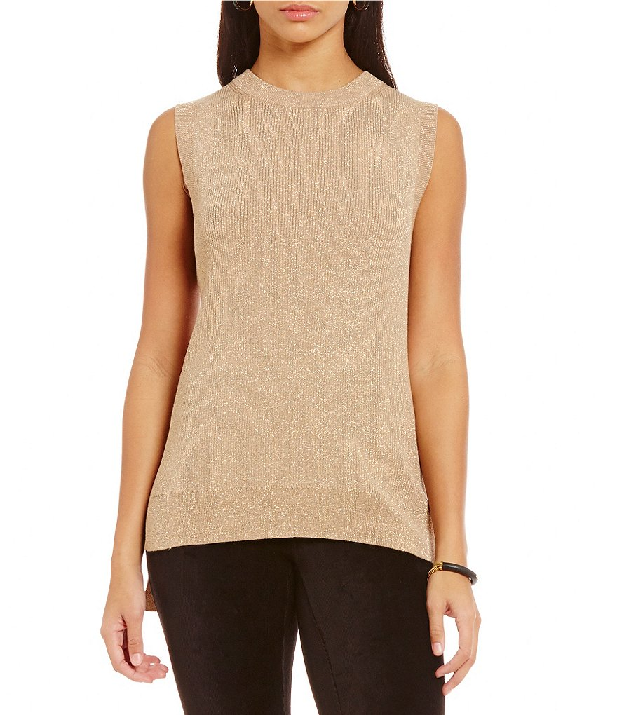 MICHAEL Michael Kors Sleeveless Hi-Low Hem Metallic Ribbed Knit Sweater