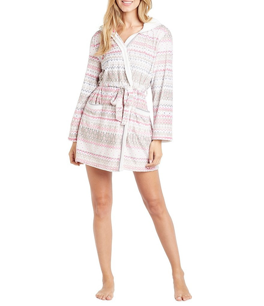 Kensie Holiday Fair Isle Microfleece Hooded Wrap Robe