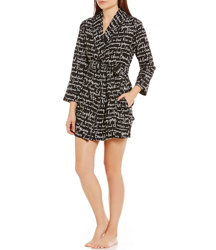 kate spade new york Verbiage-Print Flannel Wrap Robe