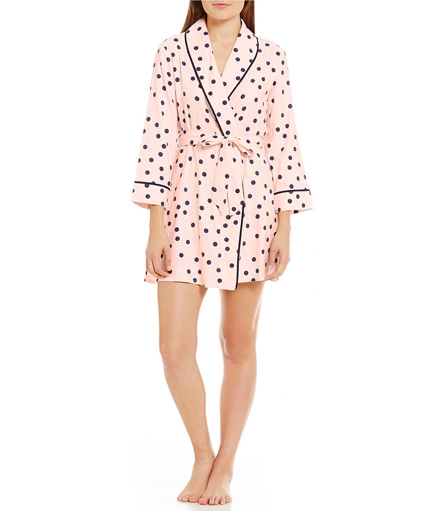 kate spade new york Dotted Flannel Wrap Robe