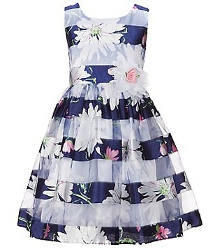 Bonnie Jean Big Girls 7-16 Floral Shadow Stripe A-Line Dress