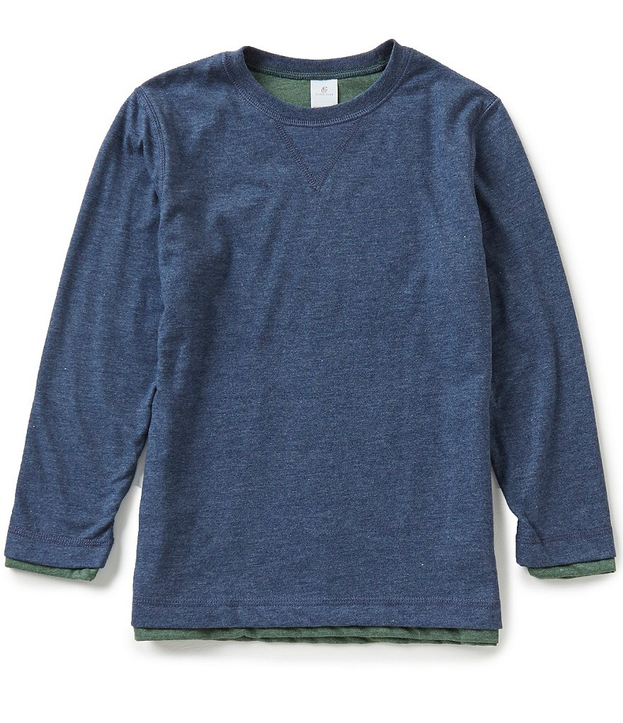 Class Club Big Boys 8-20 Reversible Long-Sleeve Crew Neck Tee