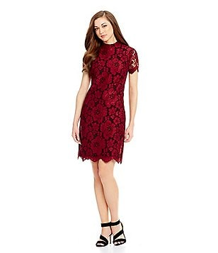 Antonio Melani Luna Mock Neck Lace Sheath Dress