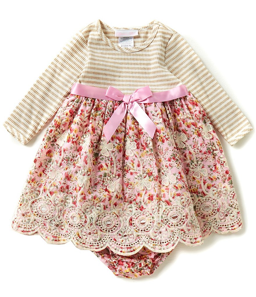 Bonnie Baby Girls 12-24 Months Striped Knit To Floral Embroidered Dress