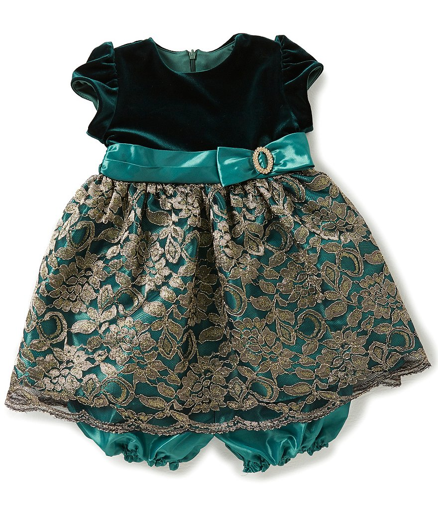 Jayne Copeland Baby Girls 12-24 Months Floral-Embroidered Metallic Overlay Dress