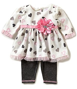 Sweet Heart Rose Newborn-24 Months Heart-Print Dress & Solid Leggings Set