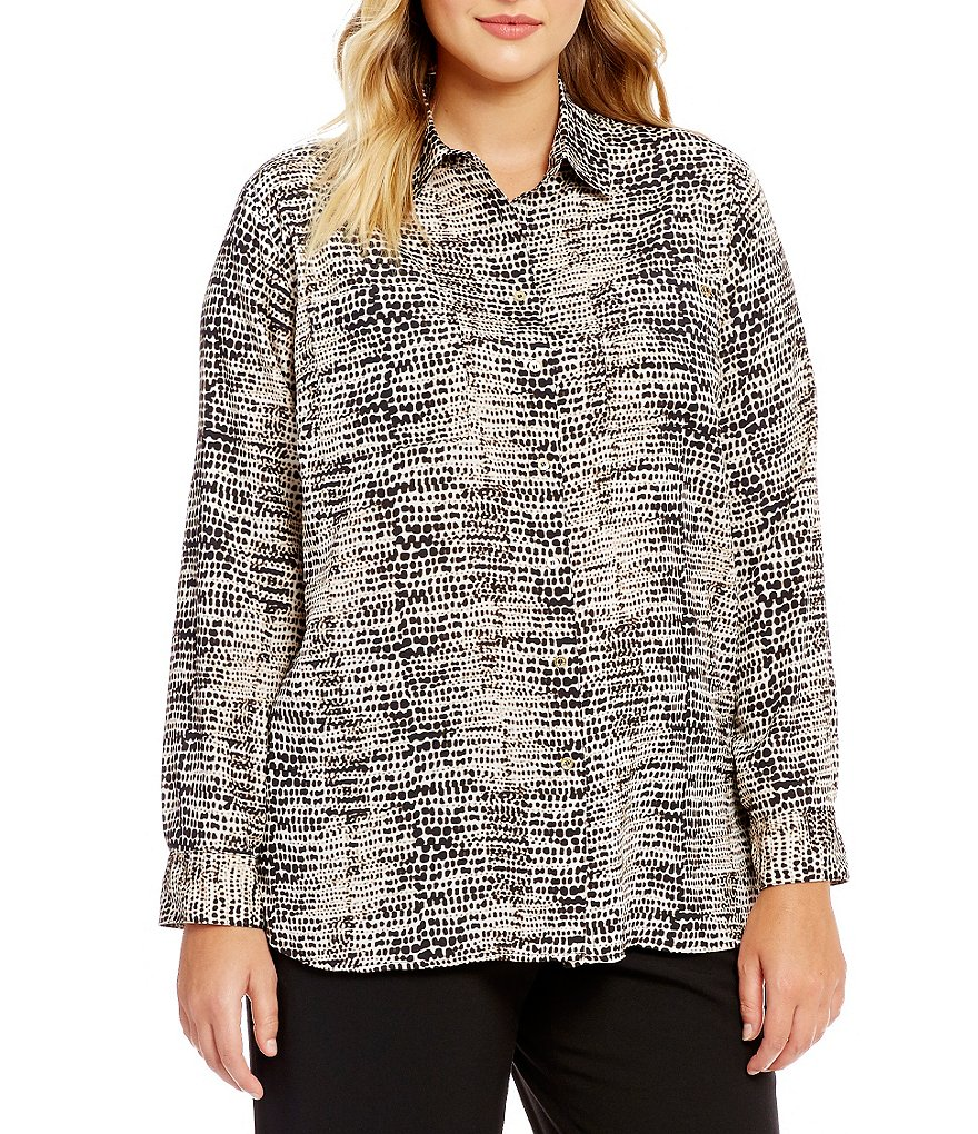 Calvin Klein Plus Printed Roll-Tab Sleeve Tunic