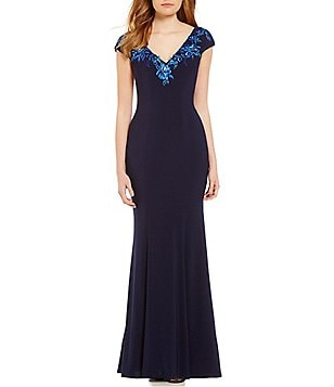 JS Collections V-Neck Embroidered Jersey Mermaid Gown