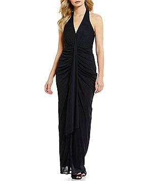 JS Collections Grecian Matte Jersey Draped Halter Gown