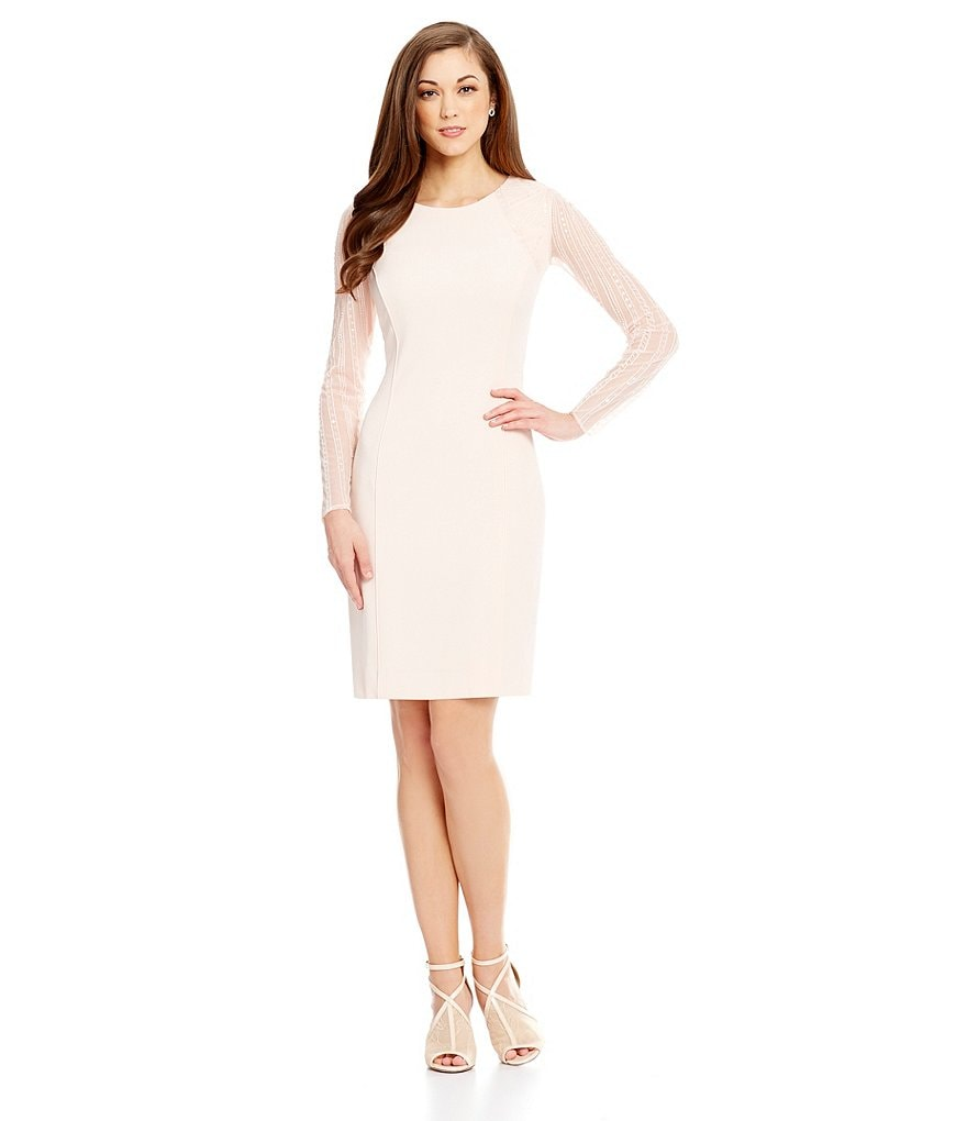 Antonio Melani Lesa Stretch Crepe/Mesh Sheath Dress