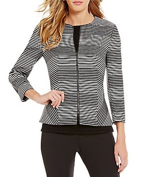 Antonio Melani Josylin Crew Neck Zip Front Striped Novelty Jacket