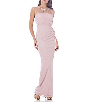 JS Collections Beaded Neck Sheer Matte Jersey Gown