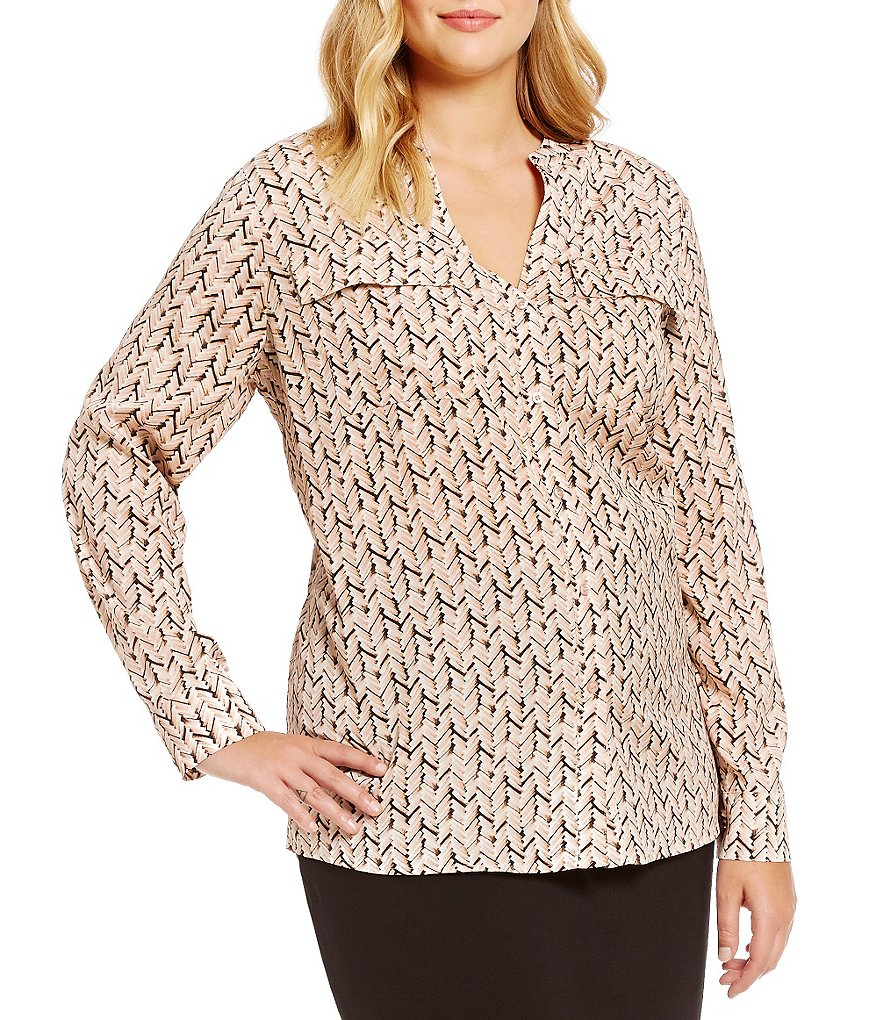Calvin Klein Plus Printed Roll-Tab Sleeve Blouse