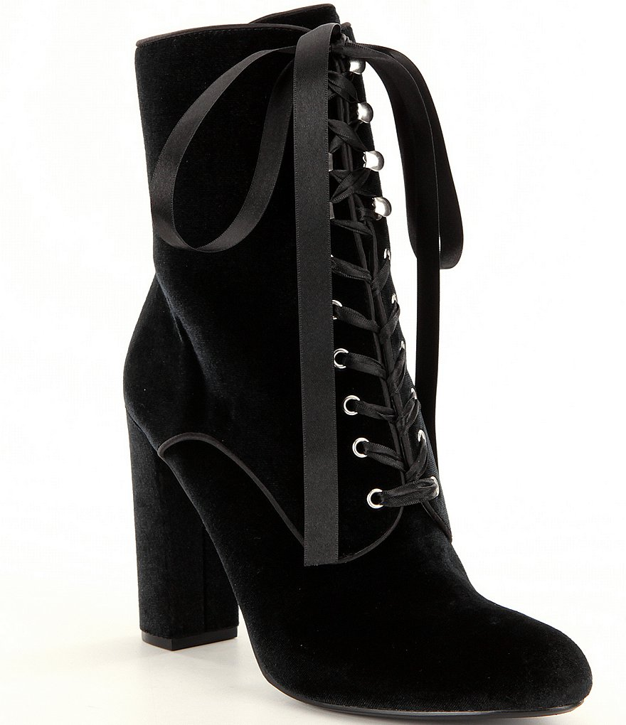 Steve Madden Evolved Velvet Ribbon Lace Up Block Heel Dress Booties