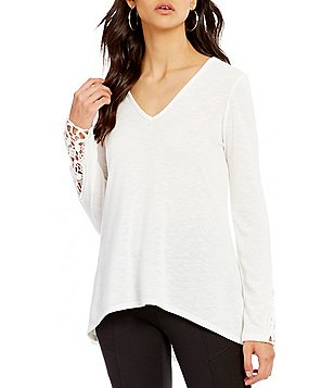 I.N. San Francisco Lace-Up Back Trapeze Top
