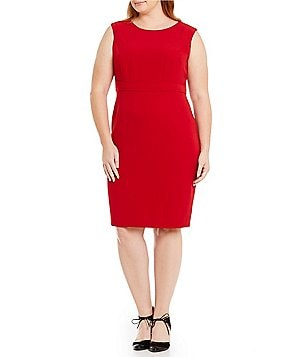 Kasper Plus Round Neck Sleeveless Solid Sheath Dress