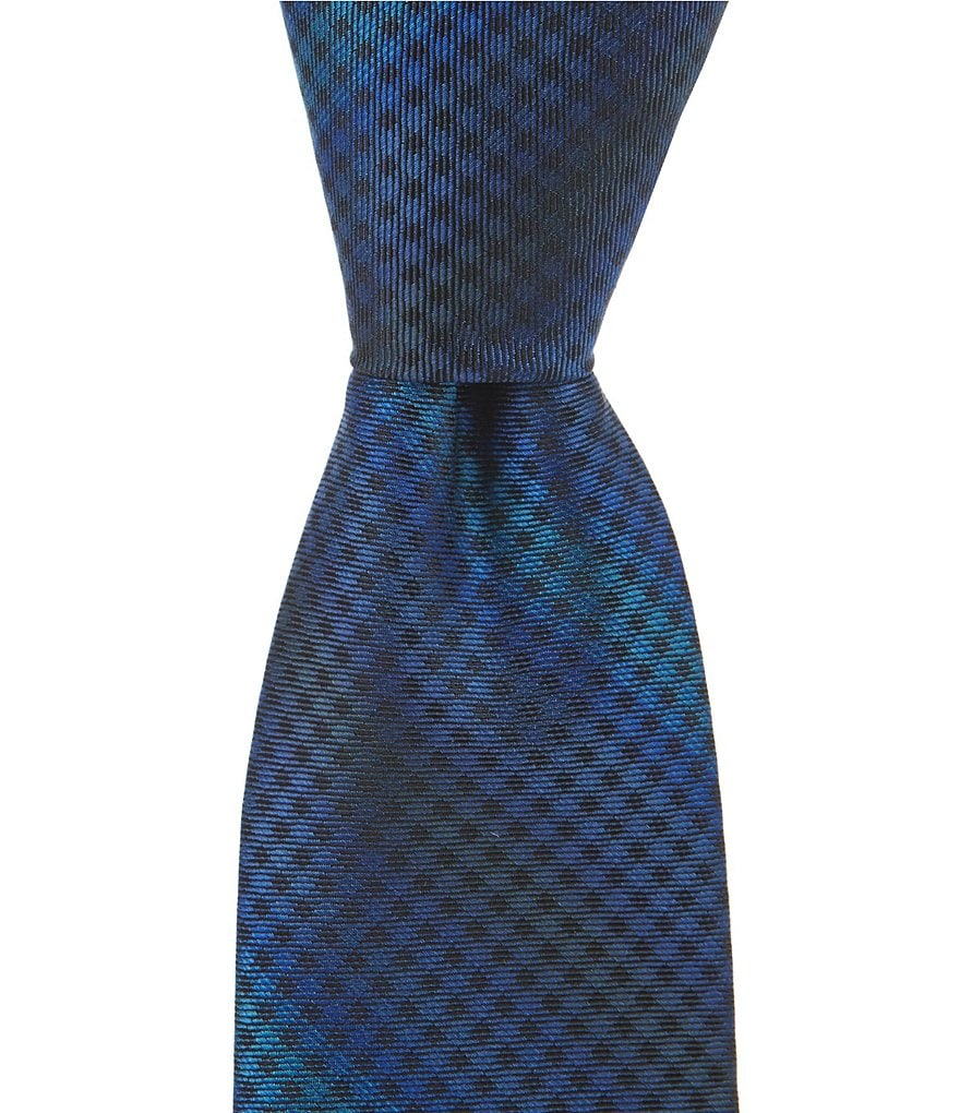 Murano Check Stripe Narrow Silk Tie