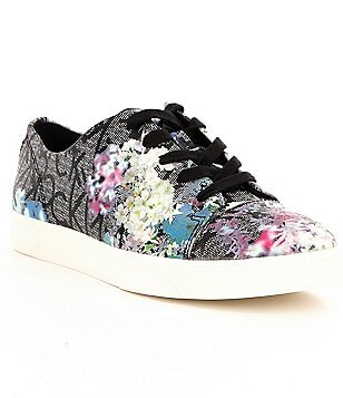 Calvin Klein Imilia CK & Floral Embossed Leather Lace-Up Sneakers