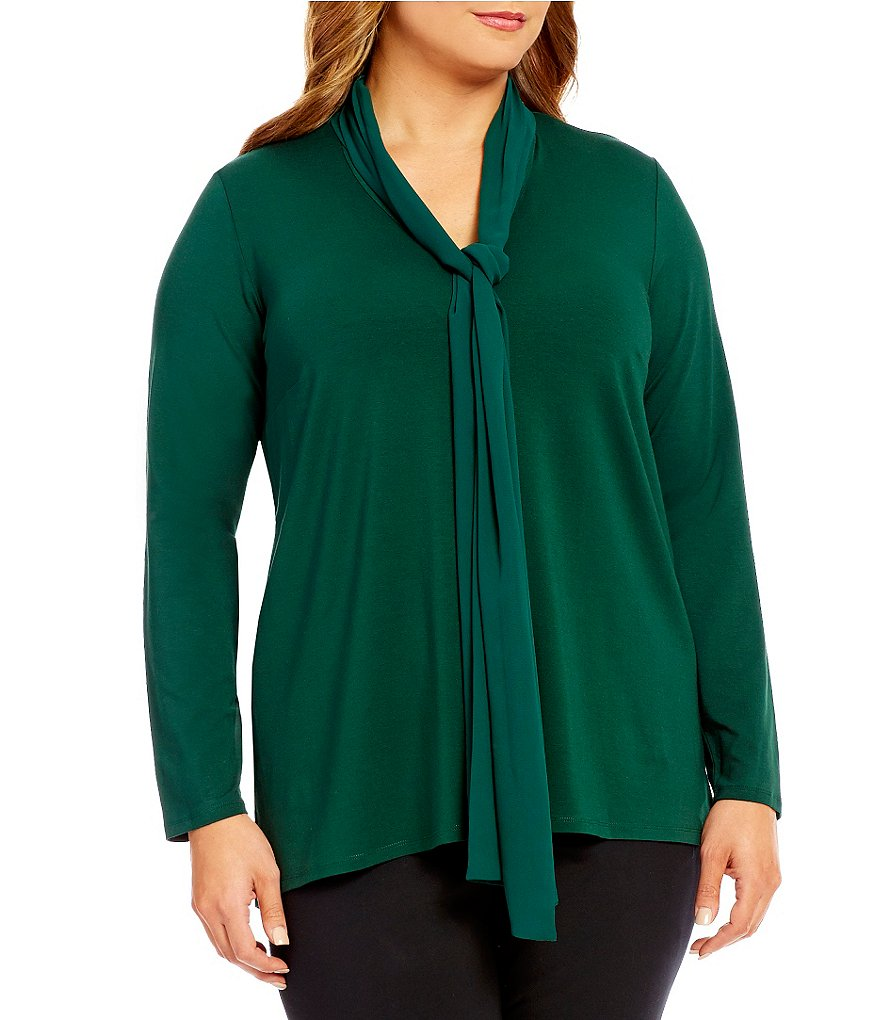 Vince Camuto Plus V-Neck High-Low Solid Top