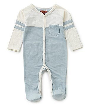 7 For All Mankind Baby Boys Baseball-Sleeve Color Block Footed Coverall