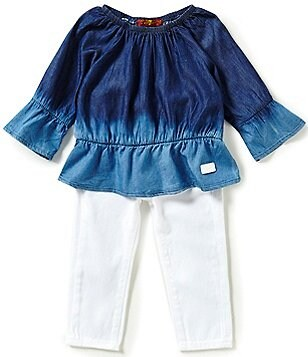 7 For All Mankind Baby Girls 12-24 Months Chambray Blouson Top and Jeans Set