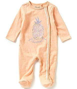 Jessica Simpson Baby Girls Newborn-9 Months Long-Sleeve Pineapple Embroidery Footed Coverall