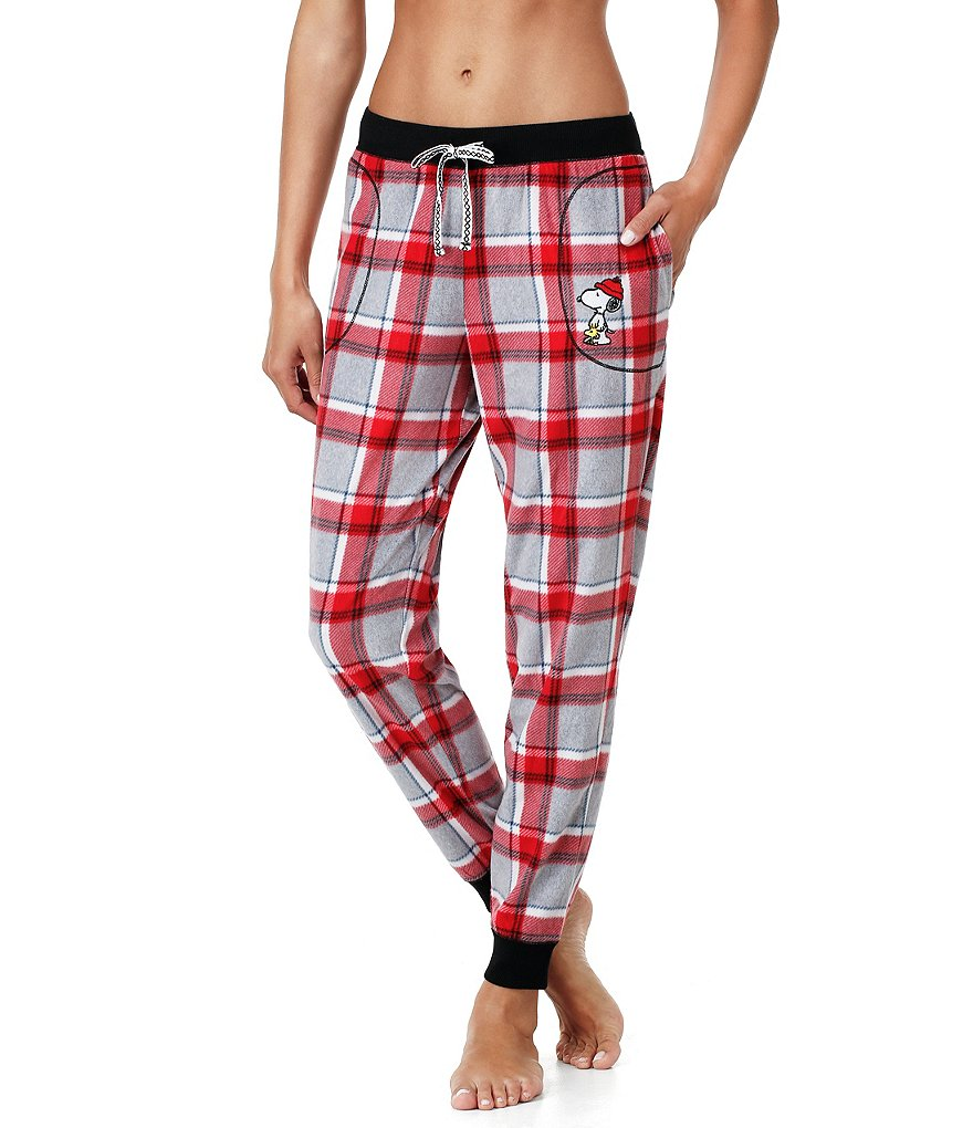 Peanuts Plaid Microfleece Jogger Sleep Pants