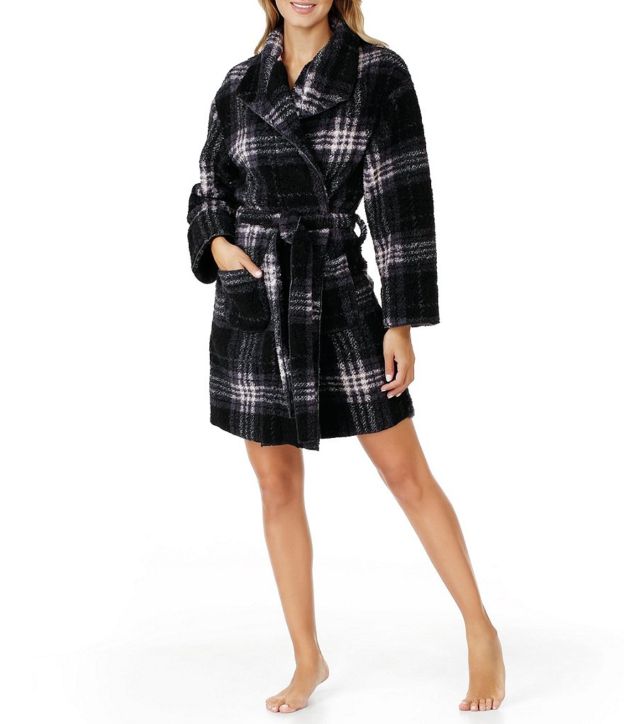 Kensie Plaid Fleece Wrap Robe