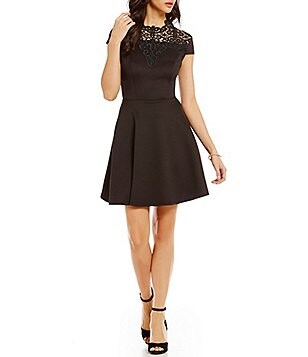 Jodi Kristopher Crochet Applique Neckline Skater Dress