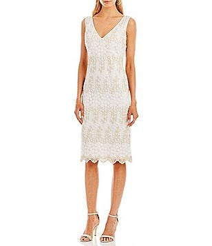 Nicole Miller New York V-Neck Sleeveless Embroidered Lace Sheath Dress