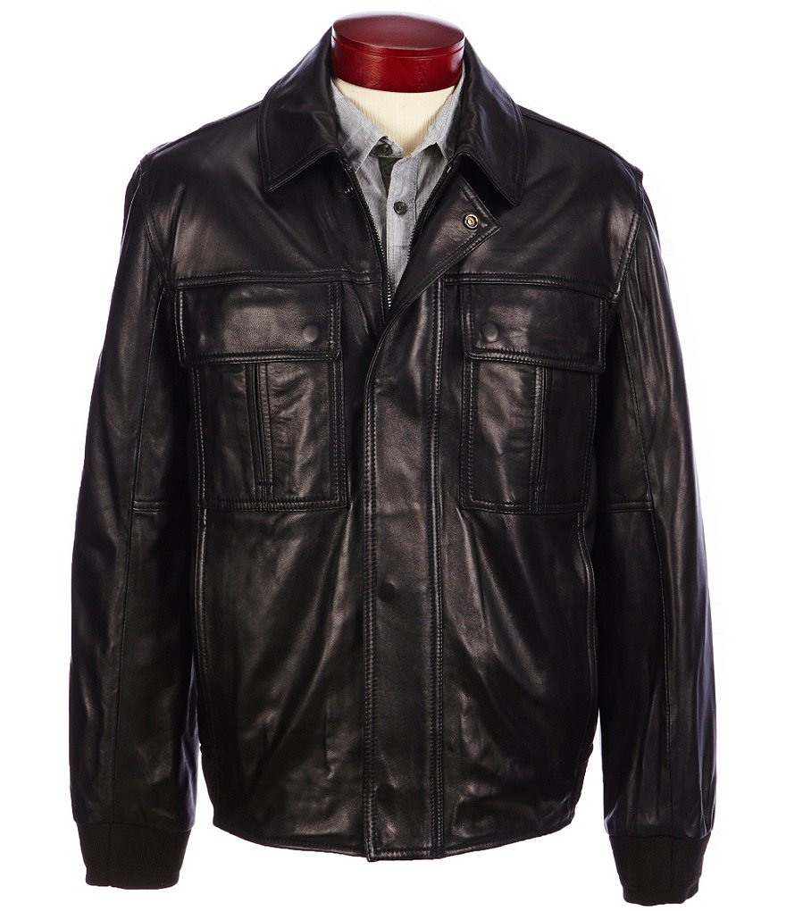 Marc New York Andrew Marc Andover Smooth Lambskin Leather Bomber Jacket