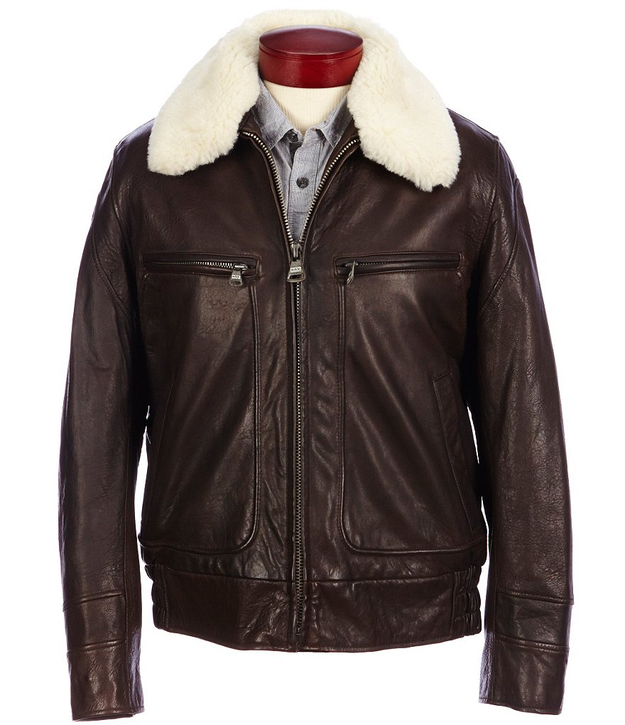 Marc New York Andrew Marc Carmine Lambskin Leather Bomber Jacket