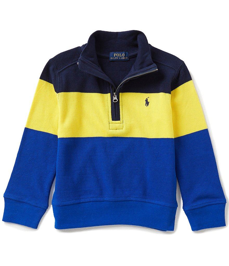 Ralph Lauren Childrenswear Little Boys 2T-7 Color Block Half-Zip Mesh Knit Pullover